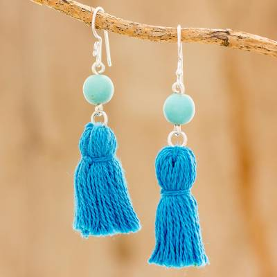 Novica Reconstituted turquoise dangle earrings, Sky Tassels