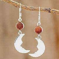 Aventurine dangle earrings, 'Brilliant Crescent Moons' - Aventurine Crescent Moon Dangle Earrings from Guatemala