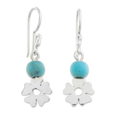 Sterling silver dangle earrings, 'Rapturous Flowers' - Floral Sterling Silver and Turquoise Earrings from Guatemala