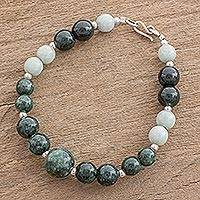 Jade beaded bracelet, 'Green Orbs' - Green-Hued Jade Beaded Bracelet from Guatemala