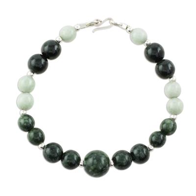 Jade beaded bracelet, 'Green Orbs' - Green-Hued Jade Beaded Bracelet from Guatemala