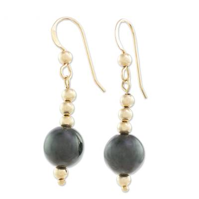 Gold-filled jade dangle earrings, 'Mayan Treasures' - 14k Gold-Filled Jade Dangle Earrings from Guatemala
