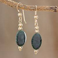 Gold-filled jade dangle earrings, 'Royal Ovals' - 14k Gold-Filled Oval Jade Dangle Earrings from Guatemala