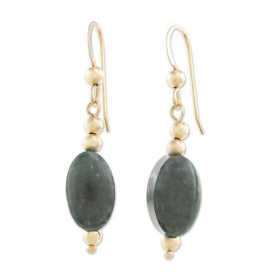Gold-filled jade dangle earrings, 'Royal Ovals' - 14k Gold-Filled Oval Jade Dangle Earrings from Guatemala