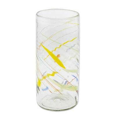 Recycled glass vase, 'Line Dance' - Clear with Colorful Lines Hand Blown Recycled Glass Vase