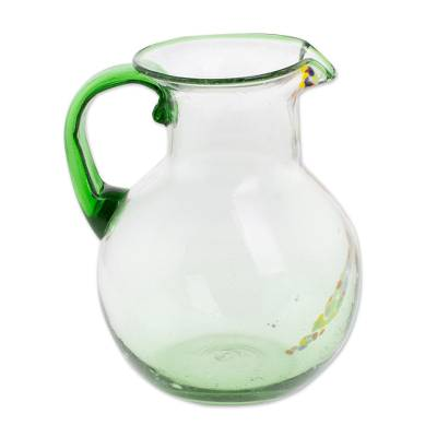 Hand Blown Recycled Glass Clear Green Colorful Dots Pitcher