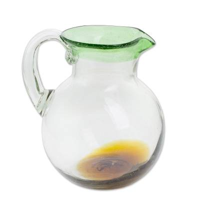 Clear Green Brown Hand Blown Recycled Glass Pitcher