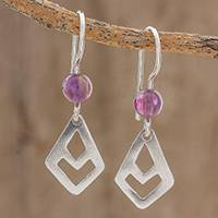 Amethyst dangle earrings, 'Flying High' - Sterling Silver Kite and Amethyst Bead Dangle Earrings