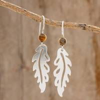 Tiger's eye dangle earrings, 'Forest Fancy' - Sterling Silver Leaf and Tiger's Eye Bead Dangle Earrings