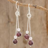Garnet and rose quartz dangle earrings, 'Swinging Rose' - Garnet and Rose Quartz Bead Sterling Silver Dangle Earrings