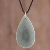 Jade pendant necklace, 'Mossy Dew' - Pale Apple Green Jade Teardrop Pendant Cord Necklace