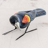 Ceramic figurine, 'Red Winged Blackbird' - Ceramic Figurine of a Red Winged Blackbird from Guatemala