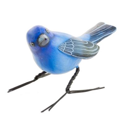 Ceramic figurine, 'Indigo Bunting' - Handcrafted Blue Indigo Bunting Bird Ceramic Figurine