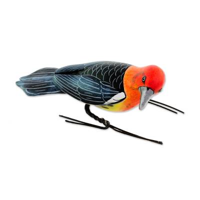Ceramic figurine, 'Woodpecker' - Painted Ceramic Figurine of a Woodpecker from Guatemala