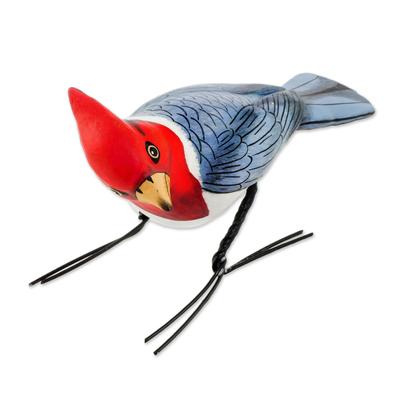 Ceramic figurine, 'Red-Crested Cardinal' - Ceramic Figurine of a Red-Crested Cardinal from Guatemala