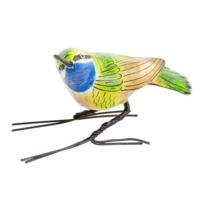Ceramic figurine, 'Blue-Throated Hummingbird' - Handcrafted Blue-Throated Hummingbird Ceramic Figurine