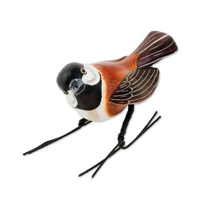 Ceramic figurine, 'Chestnut-Backed Chickadee' - Ceramic Figurine of a Chestnut-Backed Chickadee Bird