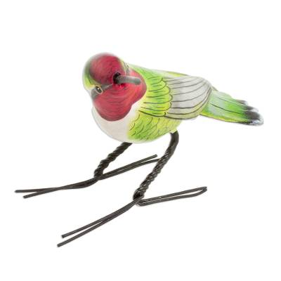 Ceramic figurine, 'Anna's Hummingbird' - Handcrafted Red-Headed Anna's Hummingbird Ceramic Figurine