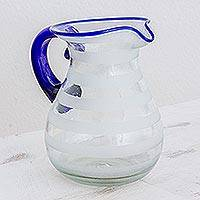 Recycled blown glass pitcher, 'Refreshing' - Hand Blown Recycled Glass Pitcher Frosted Stripe Blue Accent