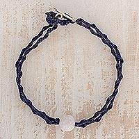 Jade pendant bracelet, 'Elegant Illusion in Blue' - Jade Pendant Bracelet in Blue from Guatemala