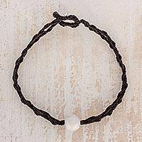 Jade pendant bracelet, 'Elegant Illusion in Black' - Jade Pendant Bracelet in Black from Guatemala