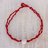 Jade pendant bracelet, 'Elegant Illusion in Cherry' - Jade Pendant Bracelet in Cherry from Guatemala