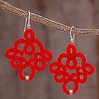 Hand-tatted dangle earrings, 'Poppy Lace' - Hand-Tatted Dangle Earrings in Poppy from Guatemala