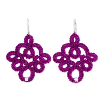 Hand-Tatted Dangle Earrings in Mulberry from Guatemala