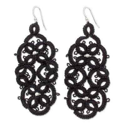 Black Tatted Dangle Earrings on Sterling Hooks