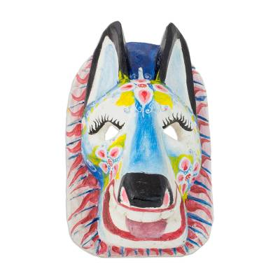 Hand-Painted Pinewood Lion Mask from Guatemala