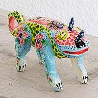 Pinewood figurine, 'Colorful Chameleon' - Hand-Painted Pinewood Chameleon Figurine from Guatemala