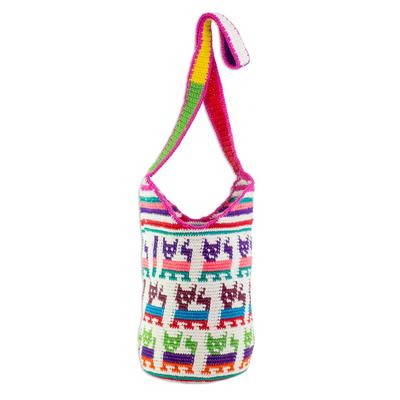Crocheted Cat Motif Cotton Bucket Bag from Guatemala