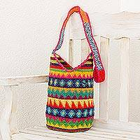 Crocheted cotton bucket bag, 'Multicolored Geometry' - Crocheted Geometric Motif Cotton Bucket Bag from Guatemala