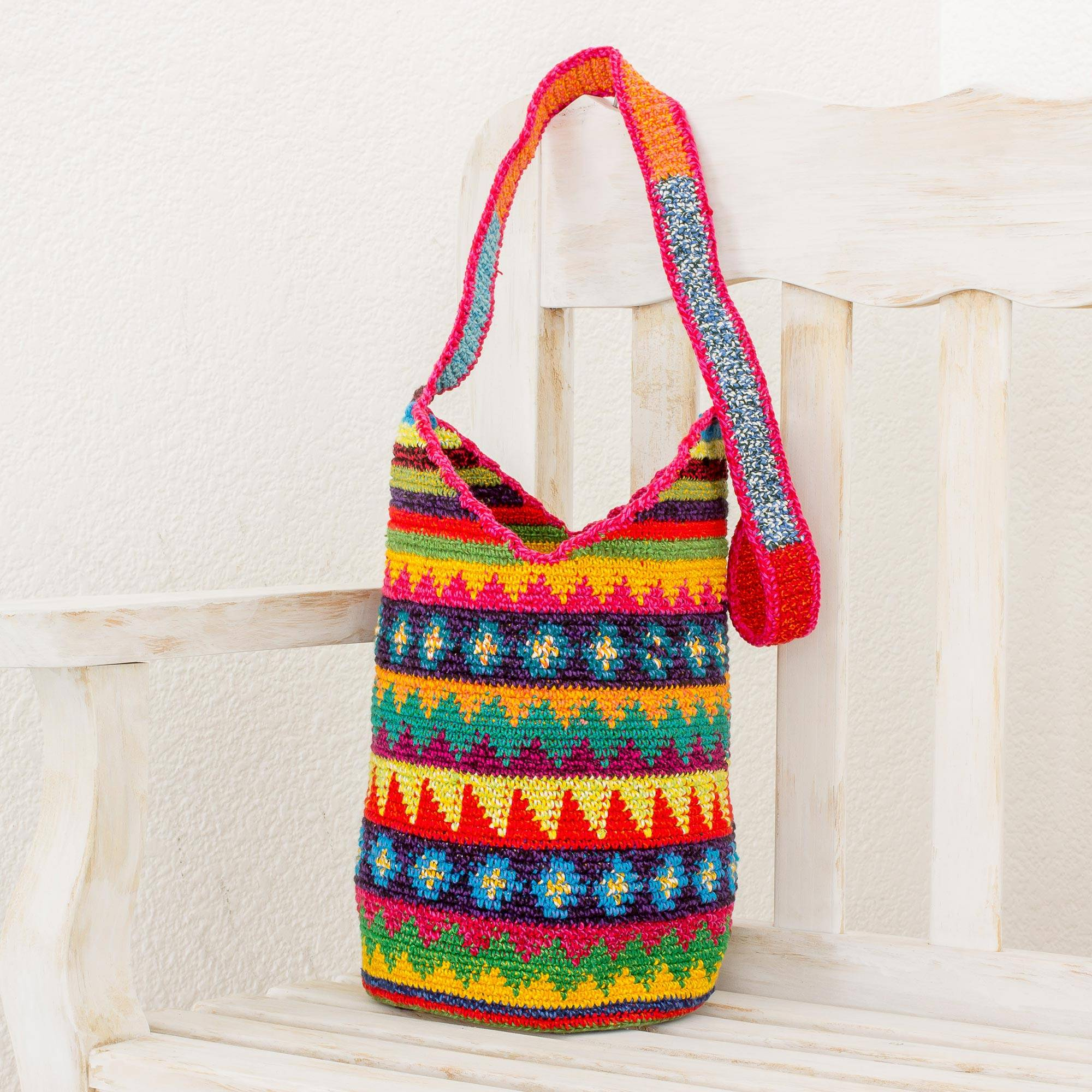 Crocheted Geometric Motif Cotton Bucket Bag From Guatemala