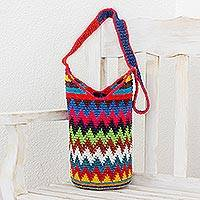 Crocheted cotton bucket bag, 'Design of Colors' - Colorful Zigzag Motif Cotton Bucket Bag from Guatemala