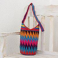 Crocheted cotton bucket bag, 'Zigzag Rainbow' - Crocheted Zigzag Motif Cotton Bucket Bag from Guatemala