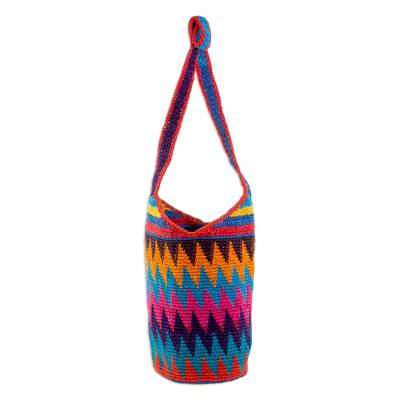 Crocheted Zigzag Motif Cotton Bucket Bag from Guatemala