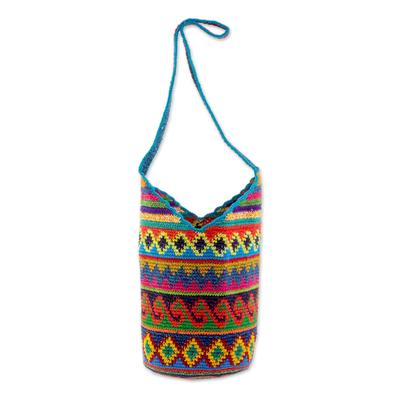 Novica Cotton bucket bag, Multicolored Waves