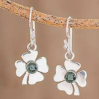 Jade dangle earrings, 'Magnificent Clovers' - Jade Four Leaf Clover Dangle Earrings from Guatemala