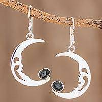 Jade dangle earrings, 'Crescent Moon Cradle' - Jade Crescent Moon Dangle Earrings from Guatemala