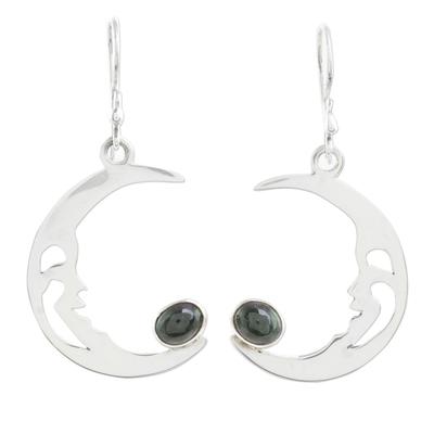 Jade dangle earrings, 'Crescent Moon Cradle' - Jade Crescent Moon Dangle Earrings from Guatemala
