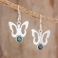 Jade dangle earrings, 'Above the Garden' - Butterfly-Shaped Jade Dangle Earrings Crafted in Guatemala