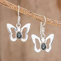 Jade dangle earrings, 'Butterfly Gleam' - Jade Butterfly Dangle Earrings Crafted in Guatemal