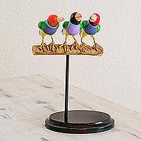 Ceramic sculpture, 'Flock Together' - Handcrafted Colorful Gouldian Finches Trio Ceramic Sculpture