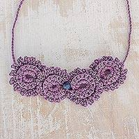 Cotton pendant necklace, 'Magnificent Flowers' - Floral Cotton Pendant Necklace in Purple from Guatemala