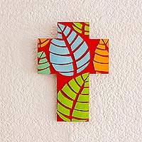 Gourd and wood wall cross, 'Multicolored Leaves' - Leaf Motif Gourd and Wood Wall Cross from El Salvador