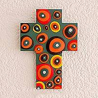 Gourd and wood wall cross, 'Beautiful Abstraction' - Abstract Gourd and Wood Wall Cross from El Salvador