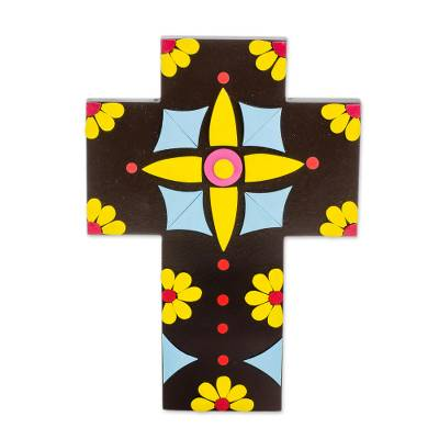 Colorful Floral Gourd and Wood Wall Cross from El Salvador