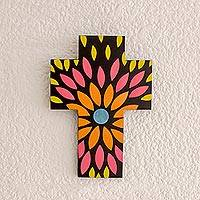 Gourd and wood wall cross, 'Flowering Colors' - Floral Design Gourd and Wood Wall Cross from El Salvador