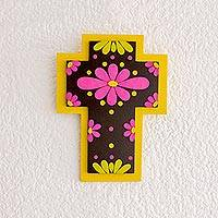 Gourd and wood wall cross, 'Neon Flowers' - Vibrant Floral Gourd and Wood Wall Cross from El Salvador
